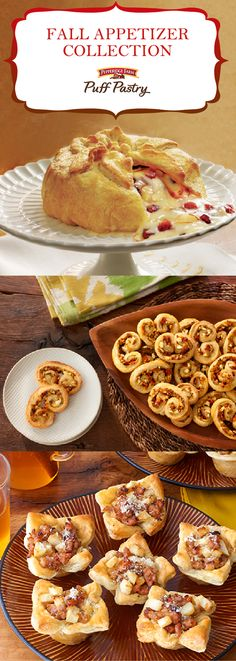 Pepperidge Farm Puff Pastry Fall Appetizer Recipe Collection. Enjoy every last bite of these easy, party-perfect appetizers. If you're throwing a Halloween bash, planning Thanksgiving appetizers or simply looking for delicious finger food, don't miss these awesome autumn recipes. Learn the secret to classic Brie en Croute (so shockingly easy you'll make it for every event), whip up savory Sausage and Apple Tarts, or add some pizzazz to your table with zippy Mediterranean Palmiers.