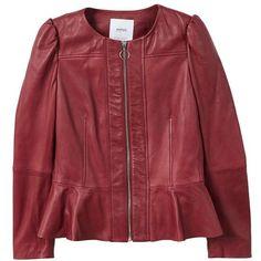 MANGO Puffed leather jacket (4.370 CZK) ❤ liked on Polyvore featuring outerwear, jackets, cherry, red jacket, zip jacket, embellished leather jacket, genuine leather jackets and red leather jacket