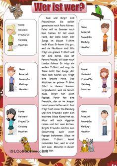Wer ist wer?_2 Foreign Language Teaching, German Language Learning, German Grammar, German English, Learn German, Foreign Languages, Kids And Parenting, Teaching Kids, Classroom