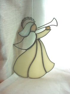 seller florasgarden on ebay Suncatcher Angel Stained Glass Christmas Decoration 8 inch as is  #Unbranded