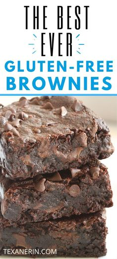 The best gluten-free brownies! So fudgy gooey and incredibly easy to make. If youre looking for truly delicious gluten-free brownies look no further. They can also be made with whole wheat for a non-GF version and are dairy-free too. Cookies Sans Gluten, Gluten Free Sweets, Gluten Free Baking, Gluten And Dairy Free Desserts Easy, Gf Recipes, Dairy Free Recipes, Mini Desserts, Chocolate Desserts, Brownie Sem Gluten