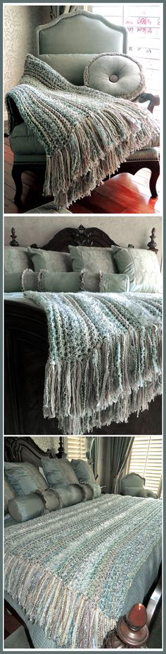 """All single crochet but crocheted on the backloop to make rows stand up. I used Lionbrand Homespun """"Ocean"""" with some white eyelash and furry yarn in some rows and also a few rows of """"Sashay"""" Platinum which has a subtle metallic thread. There's also 146 individual fringe sets attached and the homespun is knotted so it wouldn't fray out."""