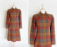 Vintage 1950s 50s Wool Mocha Plaid Princess Coat by cutxpaste, $164.00