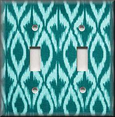 Light Switch Plate Cover - Aqua Blue - Ikat - Contemporary Home Decor