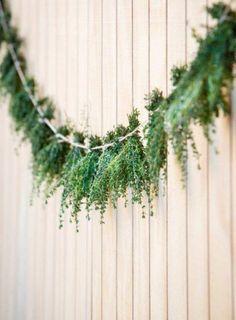 ecofriendly wedding decorations. Green garland. Greenery wedding