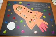 fathers day rocket card.  I love you to the moon and back.  My Dad is out of this world.