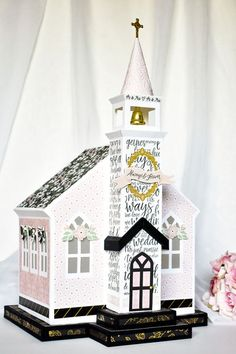 Wedding bells are in the air and this adorable church would make a perfect centerpiece for the big day! Craft your own beautiful card box with the Wedding Day Collection Kit from Echo Park Paper! Wedding Crafts, Wedding Paper, Wedding Decorations, Wedding Tags, Diy Wedding, Wedding Bells, Wishes For The Bride, Echo Park Paper, Wedding Scrapbook