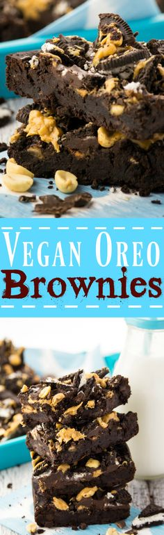 I took my black bean brownies to the next level and made these vegan Oreo peanut butter brownies. They're super chocolatey, fudgy, and incredibly delicious! Welcome to chocolate heaven! (Cocoa Butter Before And After) Oreo Peanut Butter Brownies, Bean Brownies, Oreo Brownies, Vegan Treats, Vegan Foods, Vegan Dishes, Vegan Baking Recipes, Vegan Dessert Recipes, Baking Desserts