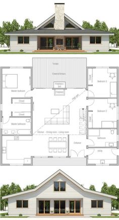 HOUSE PLAN ▪Net area: 1900 sq ft ▪Gross area: 2143 sq ft ▪Bedrooms 3 ▪Bathrooms 2 ▪Floors 1 -this could work for the monitor barn Barn House Plans, New House Plans, Dream House Plans, Modern House Plans, Small House Plans, House Floor Plans, Pole Barn Homes Plans, House Design Plans, Open Floor Plans