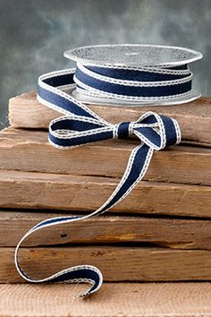 Woven Ribbon Navy 5/8in x 10yds