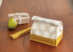 紙袋のような おしゃれ&かわいいお弁当袋の作り方(布小物) | ぬくもり #お弁当 #袋 #お箸 #ランチ #セット #紙袋 #かわいい #作り方 #ハンドメイド #手作り #手芸 #NUKUMORE