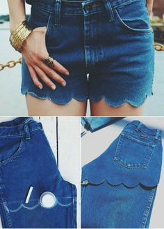Sewing Projects Transform Jeans Into Shorts - 8 Unique Ways To Recycle Your Old Pair Of Jeans - For times that you want to get rid some clothes but don't know what to do with your old jeans, here are 8 unique ways to recycle your old pair of jeans. Diy Clothes Refashion, Jeans Refashion, Diy Kleidung, Diy Vetement, Denim Ideas, Recycle Jeans, Recycle Old Clothes, Cut Off Jeans, Clothing Hacks