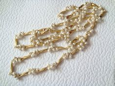 Купить Бусы Цепочка Искусственный Жемчуг США - винтажные украшения, золотой, сша 1970-е