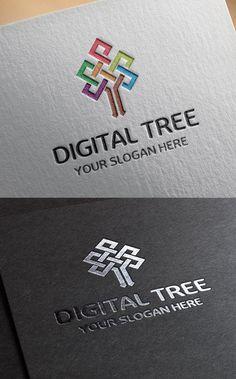 Digital Tree Logo Template #branding #customlogodesign #logotemplate #logodesign #logos #logotypes