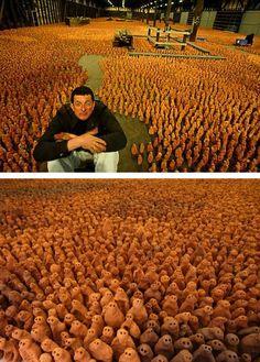Antony Gormley - 180,000 figurines make up 'Asian Field'