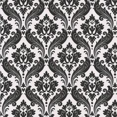Vintage Flock Wallpaper Black/White 56 square feet ($60) ❤ liked on Polyvore