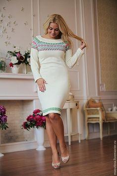 """Купить Платье """"Олимпиада"""" - вязаное платье, Жаккардовый узор, жаккардовое платье, зимнее платье"""