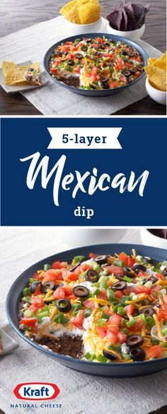 5-Layer Mexican Dip – Grab a tortilla chip and enjoy every flavor of this delicious appetizer. We're talking refried beans, sour cream, tomatoes, Cheddar cheese, and black olives!  Try out this recipe at your next fiesta.