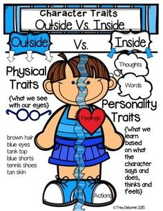 Character traits anchor chart Freebie! Students often get confused when describing character traits. They often describe the outward appearance of a character. This anchor chart helps students to think about the internal qualities of the character. The anchor chart is a FREEBIE that is part of a character close read week one.