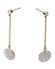 Golden/Silver+Pave+Disc-Drop+Earrings+by+Michael+Kors+at+Neiman+Marcus.