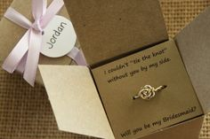 Simple and sweet rings, perfect for your Maid of Honor or Bridesmaids. Perfect way to ask your girls to help you Tie the Knot or as a Thank You