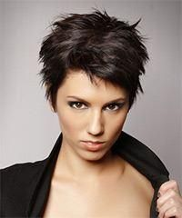 Short Straight Casual Layered Pixie Hairstyle – Dark Mocha Brunette Hair Color - New Site Short Straight Hair, Short Hair Cuts, Short Hair Styles, Pixie Cuts, Thick Hair, Short Wavy, Funky Hairstyles, Hairstyles Haircuts, Straight Hairstyles