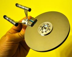 Hard Drive Starship U.S.S. Enterprise NCC-1701 - this is pretty awesome!  A great recycling idea for the disks from unusable hard drives.