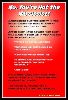 relationships - Narcissists abuse you and then accuse you of being the toxic one This is a mind game they play to maintain power over you in the relationship Read about how it works narcissistabuse narcissistquotes narcissisticsociopath narcissistsigns Narcissistic People, Narcissistic Mother, Narcissistic Behavior, Narcissistic Abuse Recovery, Narcissistic Sociopath, Narcissistic Personality Disorder, Trauma, Ptsd, Abusive Relationship