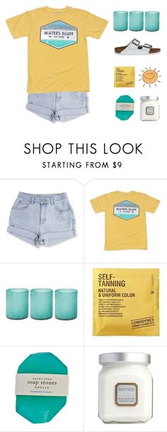 """""""- ̗̀  got me falling like the waves"""" by sunkissed-peaches ❤ liked on Polyvore featuring Jamie Young, Comodynes, Laura Mercier and Birkenstock"""
