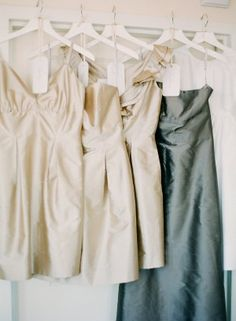 Champagne colored and blue gray bridesmaids dresses | photography by www.ariellephoto.com/