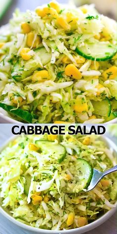 This Cabbage Salad with Corn is made with only a few ingredients and it tastes fantastic! It makes the perfect side dish for almost any kind of meal. FOLLOW Cooktoria for more deliciousness! #salad #corn #cabbage #lunch #vegetarian #vegan #plantbased #easyrecipe #summer #cooktoria