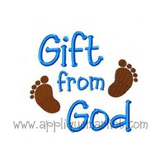 Applique Market has a great selection of baby talk designs to meet all of your customized accessory needs. This cute gift from God design adds just the right touch to any baby clothing and accessories.