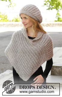 "Tender Moments - Knitted DROPS hat and poncho with English rib in 2 strands ""Brushed Alpaca Silk"". Size: S - XXXL. - Free pattern by DROPS Design"