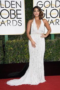 Gina Rodriguez in a Naeem Khan dress || Golden Globes 2017