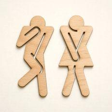 WC-Schilder Pippi und Peppone - Zwei Holzschilder für das Badezimmer