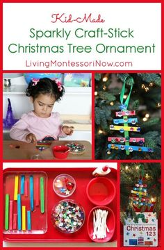 This lovely, sparkly craft-stick Christmas tree ornament is simple enough for a 2 year old and is a perfect gift for preschoolers to make. Activity includes a Montessori-inspired tray and length activity. Part of the 10 Days of a Kid-Made Christmas: Ornaments Inspired from Books.