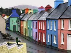 Eyeries village on the Beara Peninsula , West Cork , Ireland, very colorful Ireland Pictures, Images Of Ireland, County Cork Ireland, Dublin Ireland, Ireland Food, Ireland Map, Ireland Vacation, Ireland Travel, Ireland Hotels