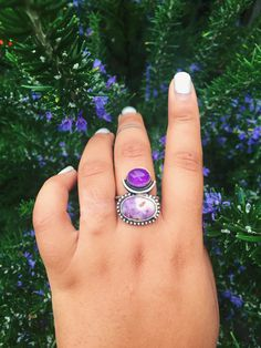 One of a kind Amethyst stones set in sterling silver with ball detail.Size 8Handmade by ...