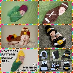 Crochet Pattern Bundle - Fall Bundle - 6 Digital PDF Files (not finished items) by calleighsclips on Etsy