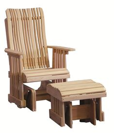 Amish Cypress Outdoor Glider Chair Treat yourself to lots of relaxing gliding action with a glider chair and ottoman. Light colored cypress wood looks naturally stunning. A contoured back offers the support you need.
