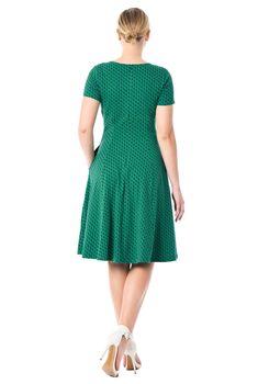 4c4e7085c Ruched bodice polka dot cotton knit dress