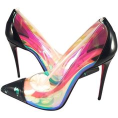 Pre-owned Christian Louboutin 100mm Disco Pvc Black Patent Debout... (5 980 SEK) ❤ liked on Polyvore featuring shoes, pumps, multicolor, black patent leather pumps, patent pumps, black shoes, high heel pumps and multi colored pumps