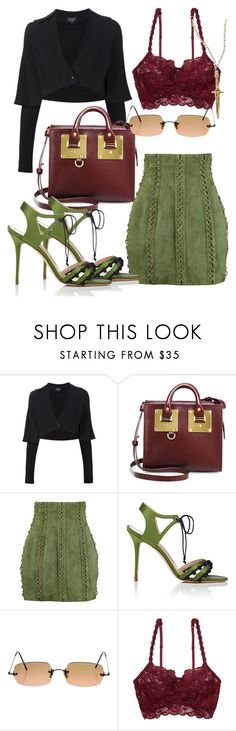 """""""Forest Gump"""" by ndhxjdbvjud ❤ liked on Polyvore featuring Creatures of the Wind, Sophie Hulme, Balmain, Manolo Blahnik, Oliver Peoples, Cosabella and Pamela Love"""