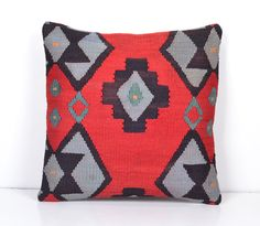 16x16 Kilim Rug Decorative Pillow Rustic throw pillow cover eclectic kilim pillow ethnic fabric pillow boho cushion cover old antique design