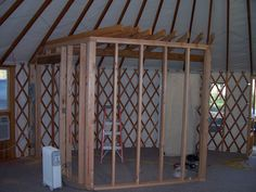 Yurt Bathroom and Kitchen | Partition wall framing