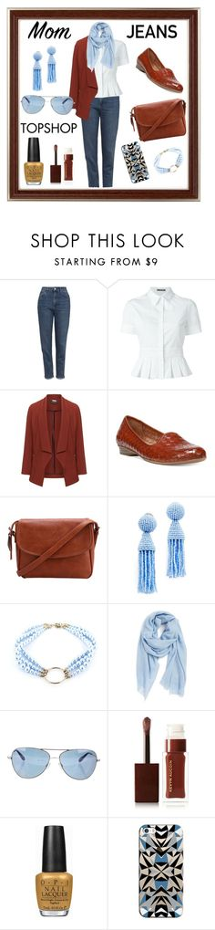 """Mom jeans"" by eereich ❤ liked on Polyvore featuring Topshop, Alexander McQueen, Manon Baptiste, Naturalizer, Oscar de la Renta, Justine Clenquet, Nordstrom, Oliver Peoples, Kevyn Aucoin and OPI"