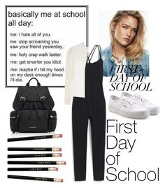 """""""first day of school"""" by mildredsunrise on Polyvore featuring J.Crew, Dorothy Perkins, Burberry and Vans"""