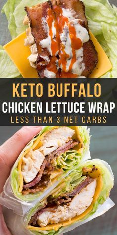 This easy Keto Buffalo Chicken Lettuce Wrap is loaded with sharp cheddar cheese, crispy bacon, grilled chicken and a heavy dose of tangy buffalo sauce! Less than three net carbs per wrap! Low Carb Recipes, Cooking Recipes, Healthy Recipes, Best Lunch Recipes, Steak Recipes, Poulet Keto, Buffalo Chicken Lettuce Wraps, Bacon Lettuce Wraps, Lettuce Wrap Recipes