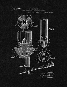 Phillips head Screwdriver Patent Print - Black Matte 5in x 7in for $7.95