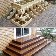 Home Discover Deck stairs - 27 gorgeous patio deck design ideas to inspire you updowny com Outdoor Projects Home Projects Project Projects Backyard Projects Types Of Stairs Deck Stairs Wood Stairs Front Porch Stairs House Stairs Outdoor Spaces, Outdoor Living, Outdoor Decor, Outdoor Fire, Backyard Patio, Backyard Landscaping, Wood Patio, Wood Decks, Diy Patio